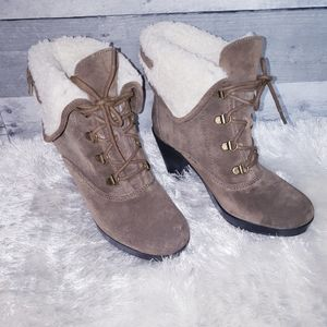 Aerosoles Suede Faux Sherpa Heeled Boots